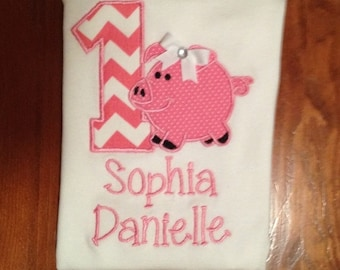 Little Piggie Birthday Shirt or Baby Bodysuit