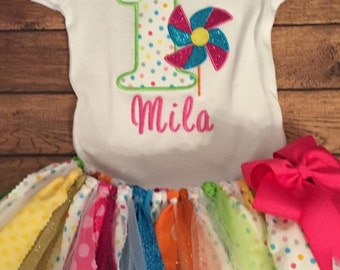 Pinwheels and Polka Dots Birthday Scrap Fabric Tutu Outfit