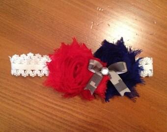 Patriotic Shabby Flower Headband