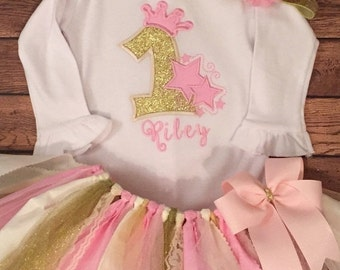 Pink and Gold Twinkle Stars Birthday Princess Scrap Fabric Tutu Outfit