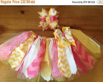 Pink and Yellow Lemonds Scrap Fabric and Tulle Tutu With Matching Hair Bow