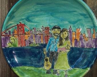 Family portrait painting on Wheel thrown ceramics.