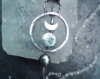 Gypsy Soul Circle Moon Pendant. Boho Hammered Sterling Silver Moon Phase Necklace.