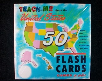 Vintage 60's United States Flash Cards, Renwal, Teach Me About The United States, Sealed In Box, Made in USA, Retro 60s, Vintage Flash Cards