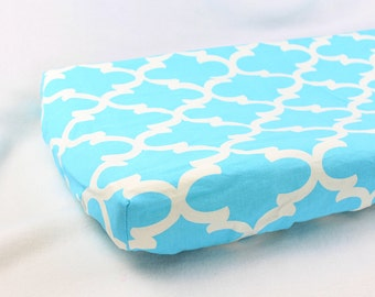 SALE Blue Quatrefoil Change Pad Cover - Removable Changing Pad Cover - Ready to ship!
