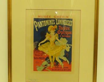 "Vintage 22""x 18""  Framed Original Lithograph,1896, Pantomimes Lumineuses /Museum Grevin by Jules Cheret # 41 From Les Maîtres de l'Affiche."