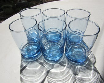 Set of 6 Anchor Hocking Small Blue Juice Glasses