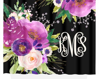 Monogrammed Shower Curtain | Gift for Her | Shower Curtain