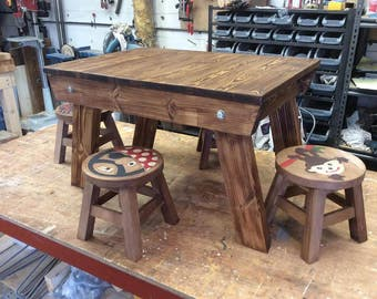 Handmade Childrens Dining Art and Crafts Table and 4 stools