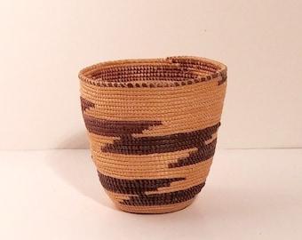 American Native Indian Basket Hupa cupped.  Miniature diagonal zigzag design