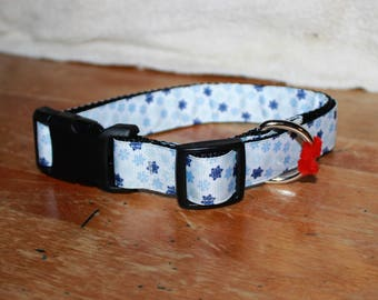 1 inch wide SNOWFLAKES Plastic Buckle Collars - PERSONALIZED