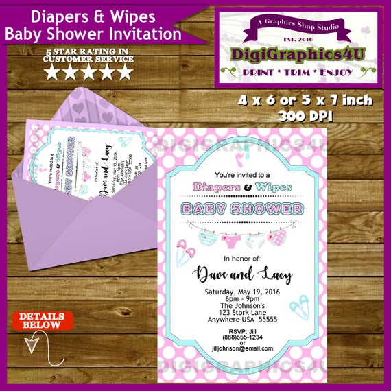 diapers and wipes baby shower invitation gender neutral printable
