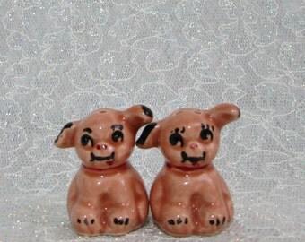 Lusterware Mini Dog Salt Pepper Shakers, Vintage Collectible c 1930