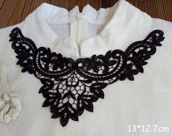 1 pcs Black Lace Appliques Venice Lace Flower Collars Corsage Costome Decor Lace Patches