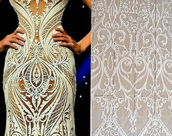 Lace Fabric Elegent Ivory Tulle Embroidery Flower Wedding Dress Grown Bridal Veil Bodice