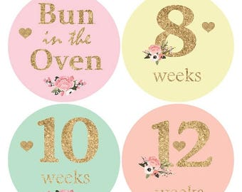 16 Baby Bump Stickers, Pregnancy stickers, Maternity Sticker, Weekly Belly Sticker, Glitter baby bump stickers, Belly Bump Sticker B137