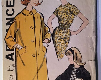 Advance 9670, 1960's Vintage Sewing Pattern, Size 12, Teen and Junior Dress and Coat, Sheath and Straight Coat, Vintage Advance Pattern