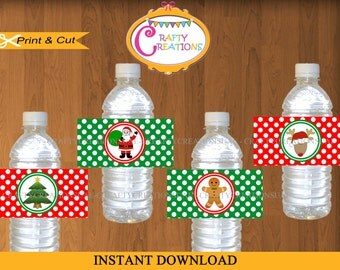 Christmas Water Bottle Labels - Printable Christmas Labels - Christmas Party decorations - DIGITAL -INSTANT DOWNLOAD - CraftyCreationsUAE