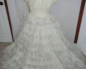 Vintage Antique Lace Wedding Dress Gown w Bridal Cap