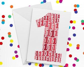 First Birthday Card, Number One Card, First Wedding Annniversary Card, 1st Birthday, Paper Anniversary, Happy Birthday Card
