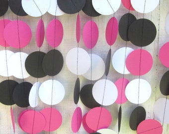 Hot Pink, White, Black Paper Circles Garland, Minnie Mouse, birthday party, photo prop, baby shower