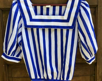 Vintage 50's Blue and White Striped Nautical Sailor Blouse
