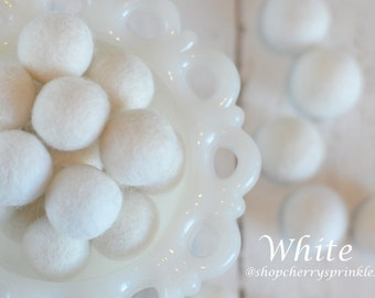 White Poms -1 cm - 2cm Felt Ball Garland -100% Wool Felt Balls -White wool balls  *Christmas Garland  *Mantel Decor - White Wedding *DIY