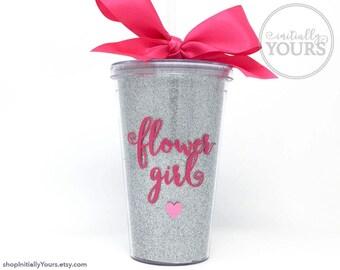 Flower Girl Tumbler, Custom Flower Girl Gift, Personalized Flower Girl Cup, Glitter Acrylic Tumbler with Straw, Gift for Flower Girl