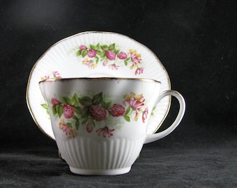 Royal Minster Fine Bone China, Teacup And Saucer, Delicate Pink Flowers, Gold Trimmed Vintage 1950s