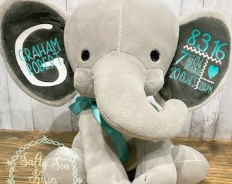 Birth Stats Elephant- Baby Keepsake- Personalized Elephant Stuffed Animal- Baby Boy Gift