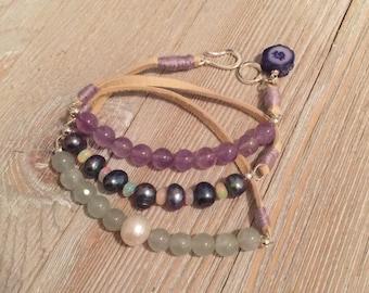 Leather deerskin wrap bracelet~green aquamarine+white fresh water pearl~peacock fresh water pearls+ethiopian opals~amethyst beads and petite