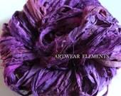 Sari Silk, Rich Purple Mix, Fair Trade, 5 Yards, Silk Ribbon, Silk Textile, Textile, Art Yarn, Ribbon, Silk, Artwear Elements, #105