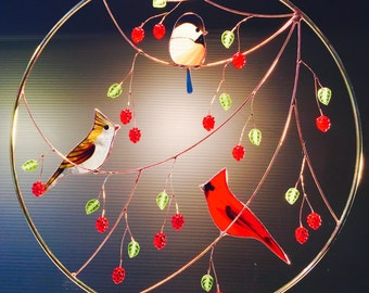 Stained Glass panel with a Cardinal Pair and chickadee