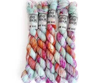 Sock Yarn Mini's Superwash Merino/Nylon 85/15 4ply Handdyed Yarn: WATER GARDEN