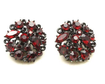 Vintage Lisner Round Blackened Metal and Ruby Red Rhinestone Clip On Earrings