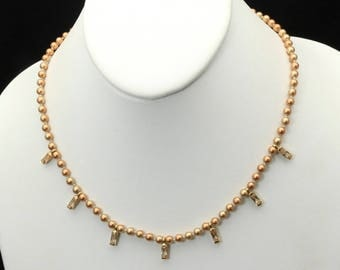 Vintage Monet Gold Tone Copper-Champagne Faux Pearl & Rhinestone Necklace