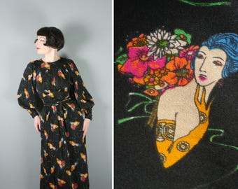 LADY print 70s maxi dress in black polyester - NOVELTY romantic deco print dress - huge BALLOON sleeves - xs-s