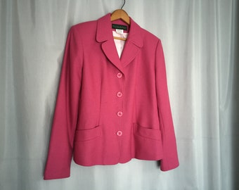 Pink Blazer Jacket Vintage Harvey Benard Wool Blend Women's Small or Medium