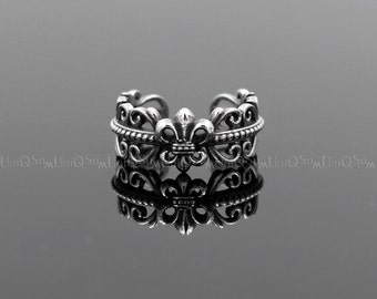Fleur de lis Ring, 925 sterling silver celtic Ring, Ladies Silver Rings for women, men