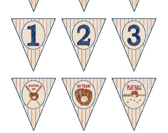 Baseball Baby Shower Banner, Vintage Baseball Banner Pennants, Printable Baseball Bunting, Baseball Baby Theme - Printables 4 Less 0004