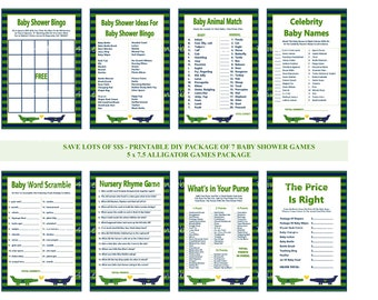 Alligator Baby Shower Game, Printable Alligator Baby Game, Alligator Game, Alligator Shower Game, Blue Green Alligator - Printables 4 Less
