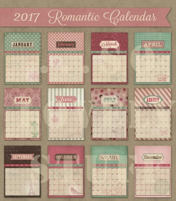 Vintage Calendar 2017 Printable : Printable calendar monthly romantic vintage