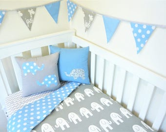 Grey and blue spot, elephant nursery set items
