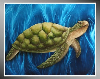 "Original 16x20"" Oil Painting - Green Seaturtle Wall Art"