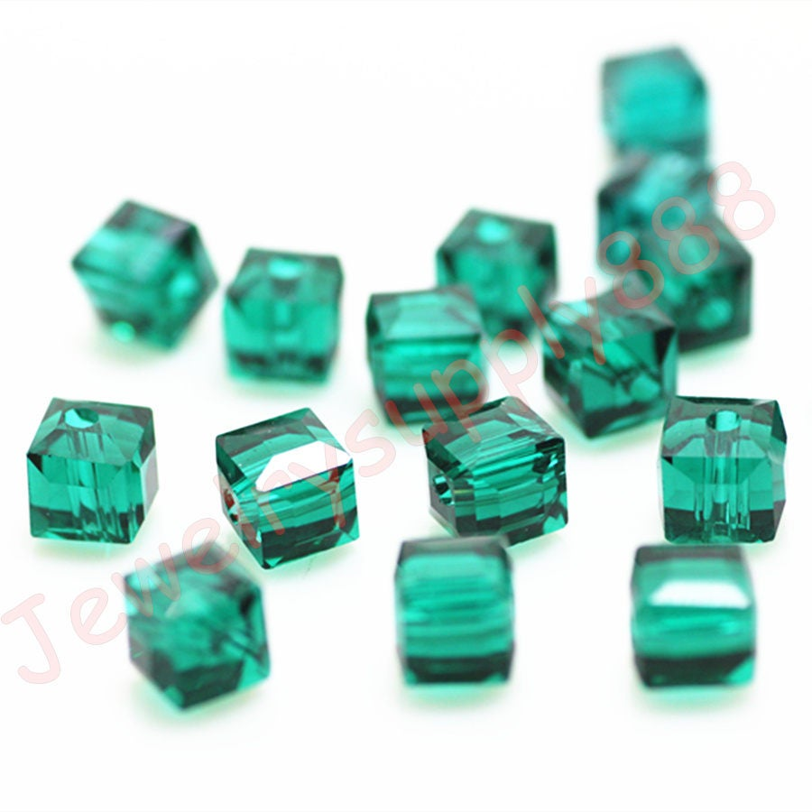 14ab4b4c8 Peacock Green Color 21 Square Cube Crystal Beads,Loose Jewelry cube Beads  ,Square crystal beads Size 2mm 3mm 4mm 6mm 8mm 50 Colors U Pick from ...