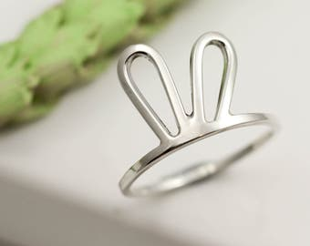 Bunny Ears Ring - Sterling Silver Ring - Bunny Ring - Midi Ring - Bunny Jewellery - Rabbit Ring - Rabbit Lover Gift