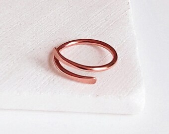 Copper or Gold Bypass Ring. Custom Size Thin Skinny Metal Overlap Ring.7th Copper 8th Bronze Anniversary Birthday Christmas Gift Her Jewelry