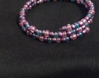 Pink Blue and Purple Seed Bead Memory Wire Bracelet, Delicate Beaded Bracelet, Acrylic Beads, Nickel Free Silver Plated Memory Wire
