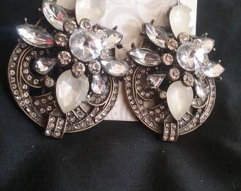 Vintage Style Faux Diamond Earrings, Faux Diamond Earrings, Bridal Jewelry, Wedding Jewelry, Vintage Style Wedding