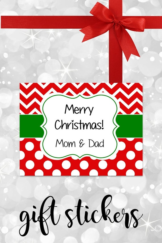 Christmas Stickers, Gift Labels, Chevron Stickers, Gift tags, Personalized Stickers, Red Labels, Custom Labels, Personalized Labels
